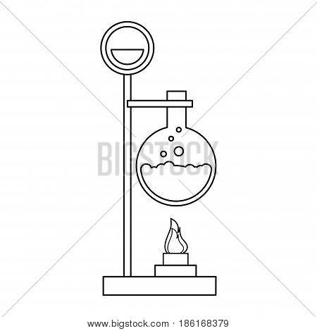 test tube with bunsen burner icon image vector illustration design  single black line