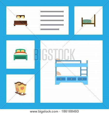 Flat  Set Of Crib, Furniture, Bunk Bed And Other Vector Objects. Also Includes Crib, Bedding, Double Elements.