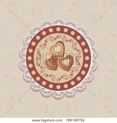 Chocolate hearts on a napkin. Chocolate candies. Vector image. Beige background. Design with lace fabric, wrapping, greeting, greetings, printing on fabric or paper.