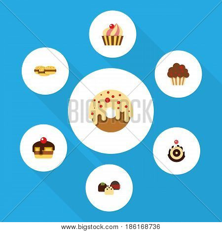 Flat Cake Set Of Dessert, Cake, Doughnut And Other Vector Objects. Also Includes Patisserie, Cupcake, Pastry Elements.