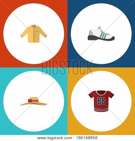 Flat Garment Set Of Elegant Headgear, Sneakers, T-Shirt And Other Vector Objects. Also Includes Gumshoes, Man, Hat Elements.