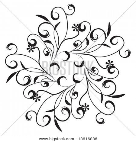 Ornamental design element isolated on white