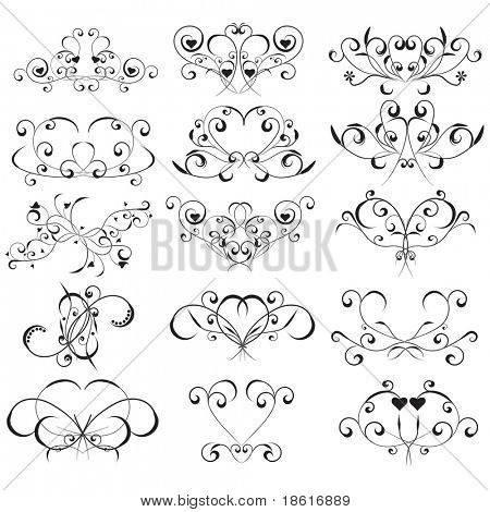 Fifteen different black design elements isolated on white