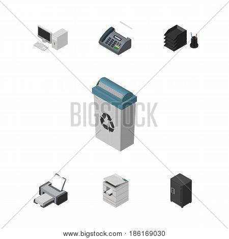 Isometric Work Set Of Strongbox, Office Phone, Scanner And Other Vector Objects. Also Includes PC, Strongbox, Fax Elements.