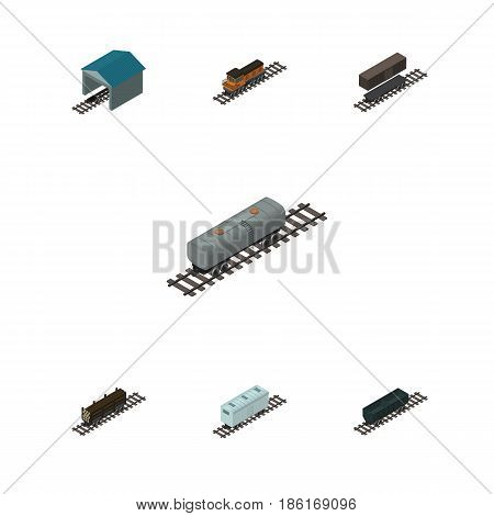 Isometric Wagon Set Of Railroad Carriage, Depot, Carbon Railway Container And Other Vector Objects. Also Includes Wagon, Wood, Stop Elements.