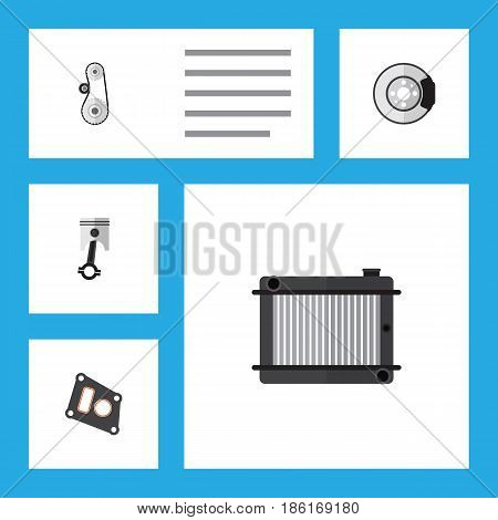 Flat Parts Set Of Cambelt, Conrod, Heater And Other Vector Objects. Also Includes Gasket, Cambelt, Belt Elements.