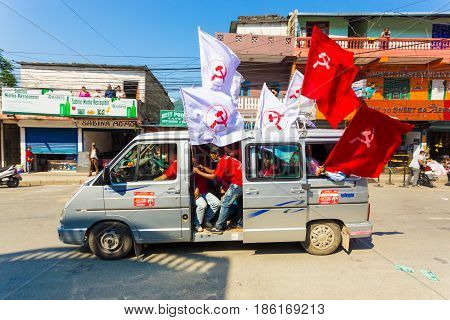 Nepal 2017 Elections Maoist Party Supporters Flags