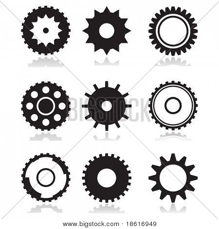 Nine different wheels on white background