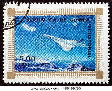 EQUATORIAL GUINEA - CIRCA 1976: a stamp printed in Equatorial Guinea shows Concorde Airplane circa 1976