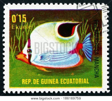 EQUATORIAL GUINEA - CIRCA 1979: a stamp printed in Equatorial Guinea shows Spotfin Butterflyfish Chaetodon Ocellatus Fish circa 1976