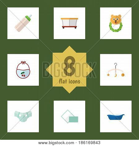 Flat Baby Set Of Rattle, Nappy, Feeder And Other Vector Objects. Also Includes Tissue, Bathtub, Napkin Elements.