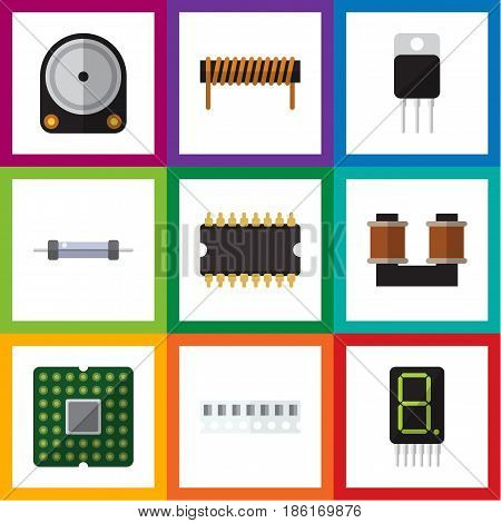 Flat Technology Set Of Microprocessor, Coil Copper, Memory And Other Vector Objects. Also Includes Receiver, Bobbin, Resistor Elements.