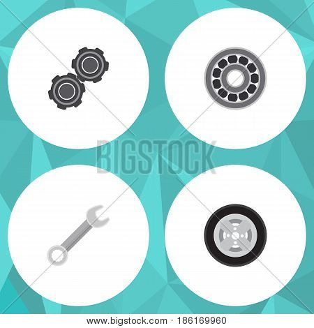Flat Service Set Of Belt, Tire, Brake Disk And Other Vector Objects. Also Includes Wheel, Wrench, Belt Elements.