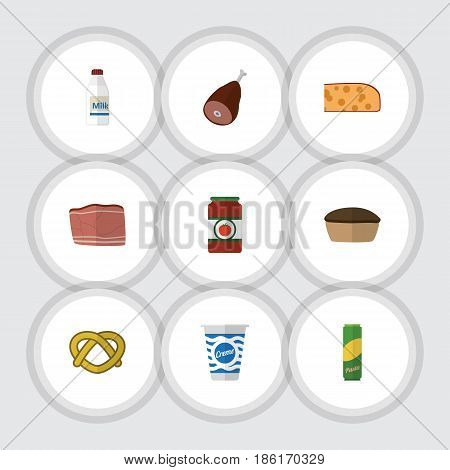Flat Kitchen Set Of Meat, Beef, Cookie And Other Vector Objects. Also Includes Ham, Milk, Breakfast Elements.