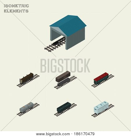 Isometric Train Set Of Lumber Shipping, Carbon Railway Container, Oil Wagon And Other Vector Objects. Also Includes Stop, Oil, Wagon Elements.