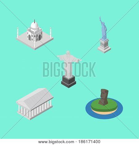 Isometric Cities Set Of Chile, New York, Rio And Other Vector Objects. Also Includes Acropolis, Chile, Mosque Elements.
