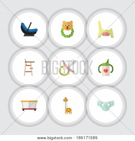 Flat Kid Set Of Nipple, Nursing Bottle, Pram And Other Vector Objects. Also Includes Bear, Child, Chair Elements.