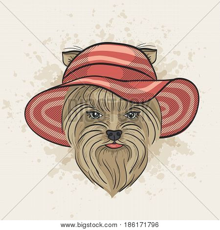 Vector color sketch of elegant dog womans face with wide brimmed. Fashion look.