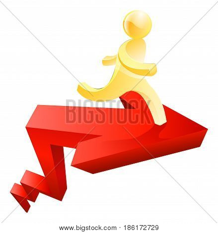 Conceptual illustration of a gold man running on arrow