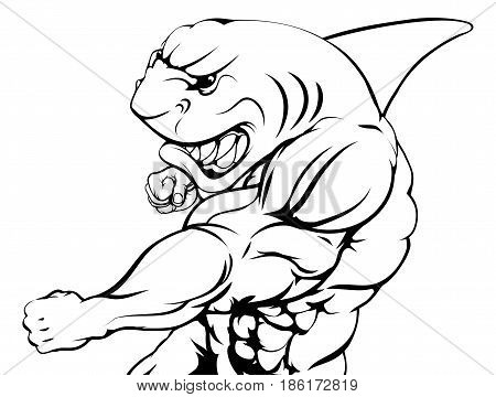 A mean tough shark animal sports mascot punching at viewer
