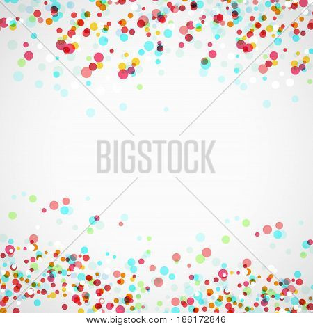 Bright colorful parti-colored abstract layout with vivid falling transparent confetti. Vector illustration