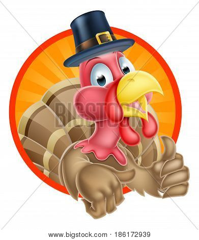 Thanksgiving turkey mascot giving a thumbs up and wearing a pilgrim hat