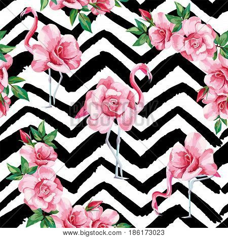 Beach image of a wallpaper with a beautiful tropic pink flamingo and rose flowers. Seamless vector composition on black and white zigzag background