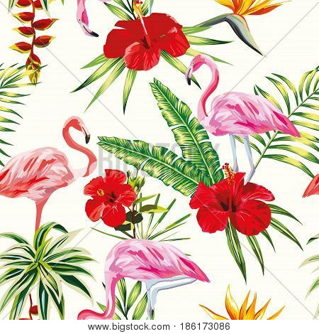 Beach cheerful seamless pattern of wallpaper from tropical green leaves of palm and flowers hibiscus cactus and birds pink flamingo on light yellow background
