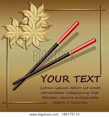 Chopsticks on a gold background with abstract flowers. Accessories for sushi. Asian Cuisine Restaurant, kitchen accessories.  Vector Illustration