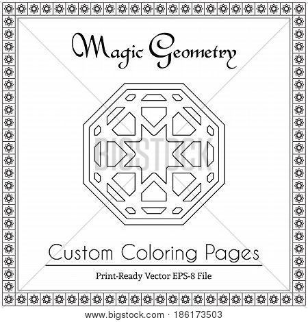 Coloring book for adults. Black and white geometric ornament