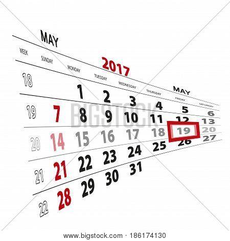 May 19, Highlighted On 2017 Calendar.