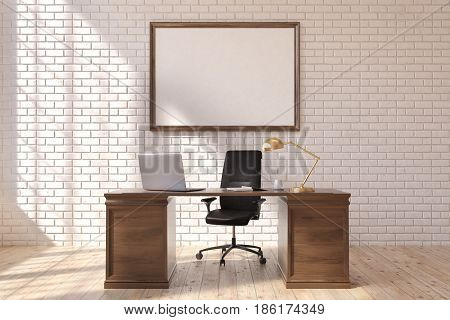Front view of a CEO table with a laptop standing on it. There is a framed horizontal poster on a brick wall behind it. 3d rendering mock up