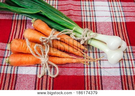 Green fresh onion and orange carrot with twine on the check red tablecloth.Vegetables.