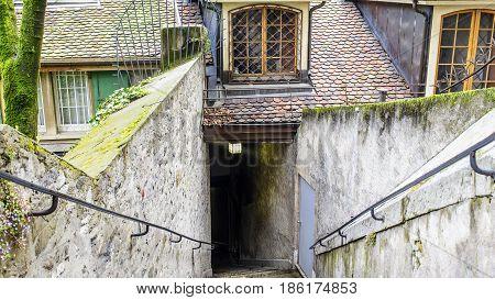 Narrow Alley Perpendicular To Rue De La Fontaine In Geneva