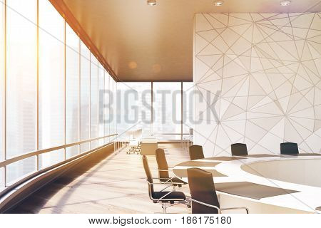 Side view of a conference room interior with a round table black office chairs near it a marble wall and a panoramic window. 3d rendering mock up toned image