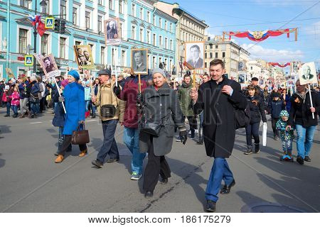 SAINT-PETERSBURG, RUSSIA - MAY 09, 2017: Action of the memory of the