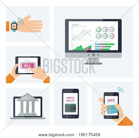 Mobile banking concept info graphic, digital wallet infographic elements. Flat vector icons set for mobile bank illustration. Template for mobile bankink infographic