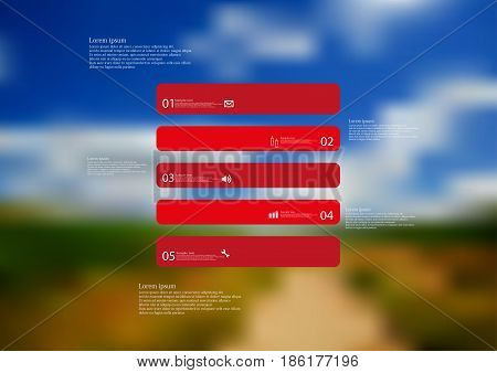 Illustration infographic template with motif of rectangle horizontally divided to five standalone red sections with simple sign number and sample text. Blurred photo is used as background.