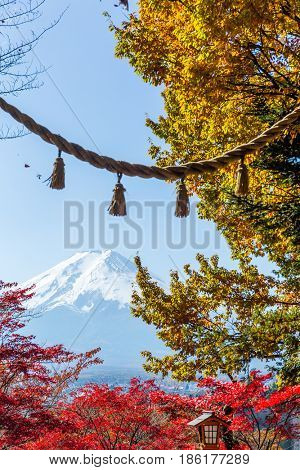 Mount Fuji with japanese temple rope