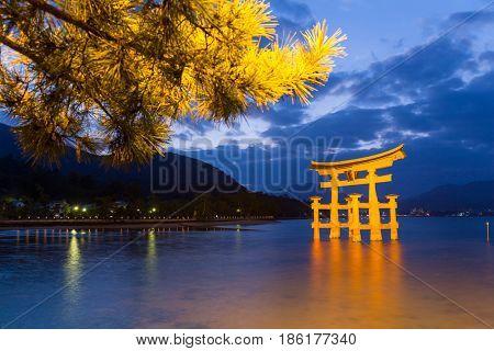 Torii in Itsukushima shine of Hiroshima Bay at night