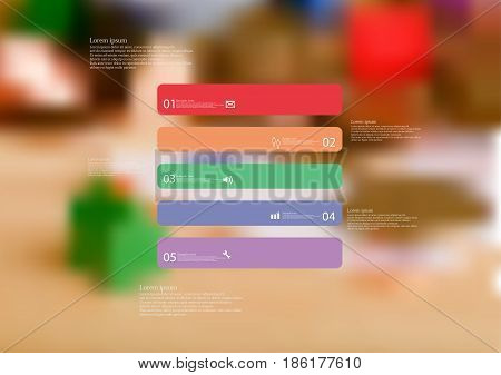 Illustration infographic template with motif of rectangle horizontally divided to five standalone color sections with simple sign number and sample text. Blurred photo is used as background.