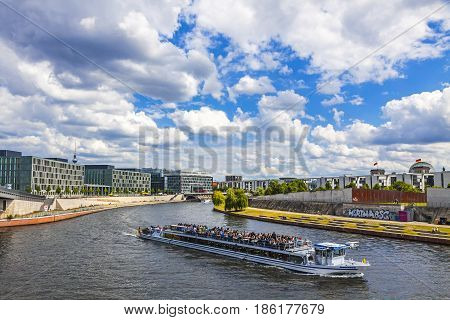 Sightseeing Boats On The River Spree In Berlin, Germany