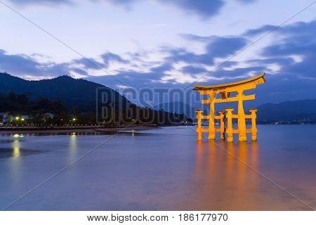Itsukushima Shrine at night