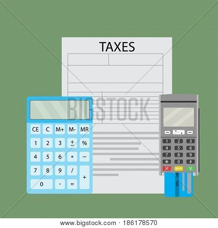 Count and pay taxes by bank transfer. Tax pay and taxation flat style. Vector illustration