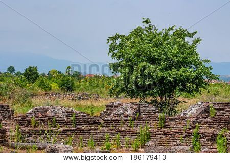 Scenic view to ancient ruins in Dion, Greece.
