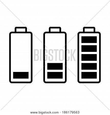 Battery load. Full half and low levels. charge status symbols set. isolated on white background vector illustration