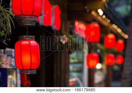 Many Barrel-shaped Chinese double red lantern in the early evening
