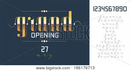 Grand opening vector banner. Design template with date numbers and months for poster or flyer for opening event