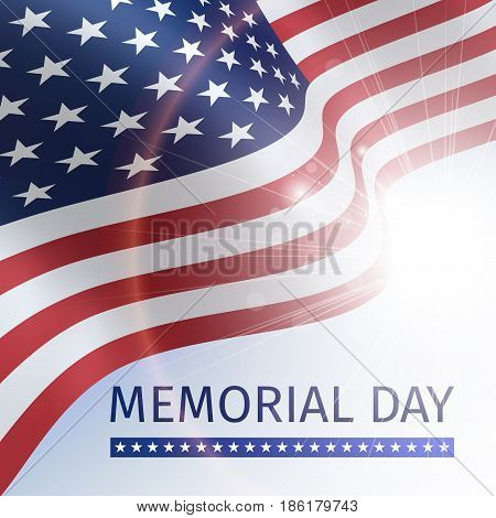 Memorial day, remember and honor - poster with the flying flag of the USA against the blue sky with the sun