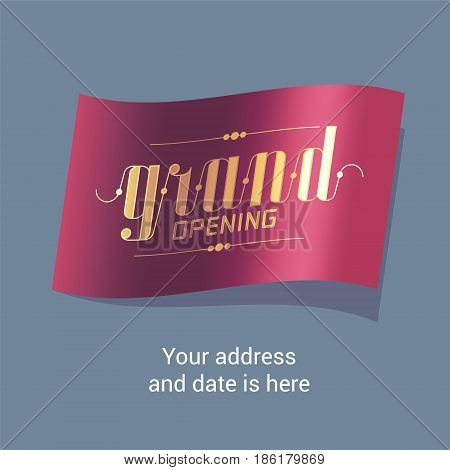 Grand opening vector illustration banner for new store shopping center. Template design element for opening ceremony